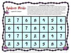 Spiders Math Games Multiplication and Division from Games 4 Learning is a collection of 7 Math Board Games with a Spiders theme.     These are perfect for use at any time of the year and are ideal for October math activities and Halloween math activities but the games contain no direct reference to Halloween. $