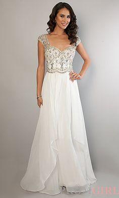 Long Ivory Cap Sleeve Rhinestone Beaded Dress at PromGirl.com #prom #dress