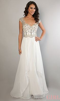 Long Ivory Cap Sleeve Rhinestone Beaded Dress at PromGirl.com #prom #dress