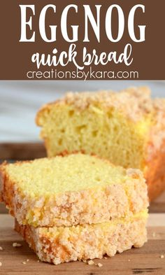 Eggnog Quick Bread with Crumb Topping - a moist and delicious quick bread recipe perfect for the holidays! #eggnogquickbread #eggnogbread #eggnogcrumbbread -from Creations by Kara Eggnog Bread Recipe, Cheesy Bread Recipe, Best Bread Recipe, Quick Bread Recipes, Roll Recipe, Simple Recipes, Baking Recipes, Cake Mix Cookie Recipes, Best Dessert Recipes