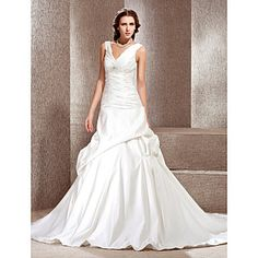 A-line V-neck Chapel Train Satin Wedding Dress  – USD $ 249.99