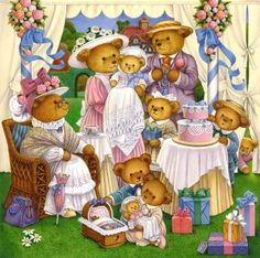 Teddy Bear's Christening by Carol Lawson Teddy Bear Cartoon, Cute Teddy Bears, Cartoon Toys, Beatrix Potter, Art D'ours, Teddy Beer, Barbie Coloring Pages, Bear Paintings, Bunny Drawing