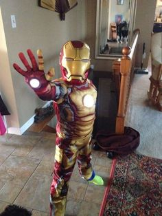 Picture of Simply and cheaply add repulsor lights to childs iron man costume