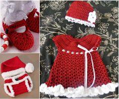 kırmızı beyaz örgü çocuk elbisesi