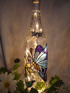 Blue Butterfly Wine Bottle Lamp.