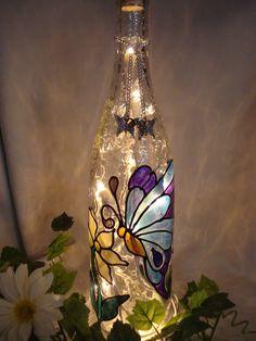 Blue Butterfly Wine Bottle Lamp.