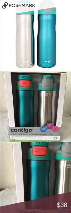 2 Contigo Autoseal Fit Trainer, 20-Ounce Contigo Autoseal Fit Trainer, 20-Ounce- 2 Pack, Bermuda Teal. Features:   AUTOSEAL TECHNOLOGY LID: Automatically seals between sips making it Leak-proof and spill-proof stainless-steel 20 oz. water bottle with protective spout shield against dirt and dust. DESIGNED FOR COLD BEVERAGES: Weather you are hiking a desert trail or scaling a mountain, the AUTOSEAL Fit Trainer is insulated  CONVENIENT PUSH-BUTTON LID FOR ONE-HANDED DRINKING  WIDE MOUTH…
