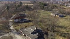 Abandoned POW Camp 30 - Birds Eye View - Drone Fly Over