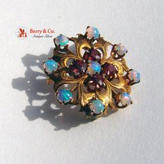Vintage Ornate Brooch 14 K Yellow Gold Opals Ruby by BerrysGems