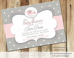 Elephant Baby Shower Invitation - Pink and Gray Grey Polka Dots - Baby Girl - PRINTABLE Invitation Design