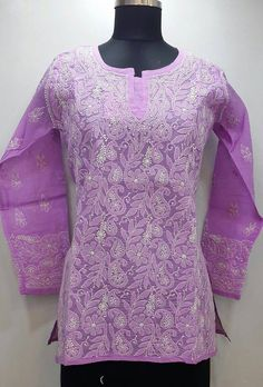 Lucknowi Chikan Online Short Top Purple Cotton Rs. 1,495.00