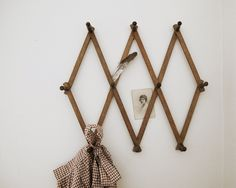 Vintage Wooden Accordian Peg Rack, Rustic Farmhouse Decor by LittleKittenVintage on Etsy