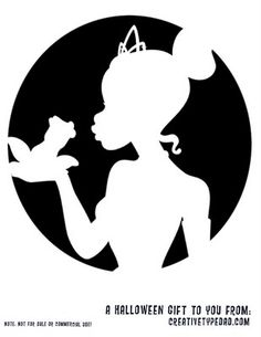 Silhouette Tiana and the frog pumpkin carving Disney Pumpkin Stencils, Disney Stencils, Disney Pumpkin Carving, Pumpkin Carving Templates, Pumpkin Carvings, Pumpkin Template, Disney Halloween, Halloween Fun, Vintage Halloween