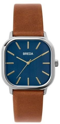 Men's Breda Visser Square Leather Strap Watch, 35Mm