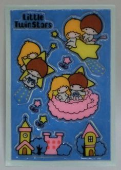1976 Vintage Sanrio Little Twin Stars Soft Sticker *Japan