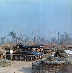A US Army M110 Eight-Inch Self-Propelled Howitzer in Vietnam War.