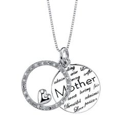 """Sterling Silver """"Mother Mom I Love You"""" Two Piece Diamond Circle Pendant with Heart Necklace (.1 cttw, I-J Color, I2-I3 Clarity), 18"""" Amazon Curated Collection. $82.00. Made in China. The total diamond carat weight listed is approximate. Variances may be up to .01 carats.. All our diamond suppliers certify that to their best knowledge their diamonds are not conflict diamonds.. Save 45% Off!"""