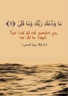 Qur'an Animation مَا وَدَّعَكَ رَبُّكَ وَمَا قَلَى Your Lord did not abandon you, nor did He forget. (Quran found on: akumuhaimin Islamic Quotes, Islamic Teachings, Muslim Quotes, Islamic Inspirational Quotes, Arabic Quotes, Islamic Art, Islam Muslim, Islam Quran, Quran Surah