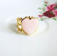 Light Pink Ring Heart Cameo Ring by Jewelsalem on Etsy, $15.00
