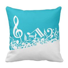White Jumbled Musical Notes on Black Throw Pillows