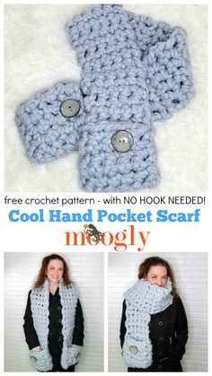 No hook needed - you can use your fingers to create the Cool Hand Pocket Scarf with Red Heart Irresistible and the free crochet pattern on Moogly!  #crochet #handcrochet #fingercrochet #redheartyarns #irresistible #freepattern #freecrochet #irresistible