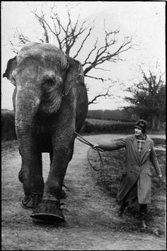 A 1920s era woman (likely a circus performer) and her elephant out for a brisk constitutional. #elephant #1920s #woman #circus #performer #vintage #retro #entertainment