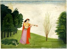 Vipralabhda Nayika ~ casting off her ornaments in disgust, after waiting for him, to no avail. A girl casting off her ornaments.      Pahari School,     Kangra Style.   Date      1760 (circa).     Painted in: Panjab Hills