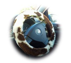 Fuzzy Steering Wheel Cover, Cheetah Animal, Brown Leopard, Car Covers, Cat Pattern, Cow Print, Faux Fur, Handmade, Animals