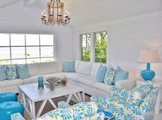 I love this look - mostly white, wood floors ground the room and turquoise and lime are the pop!   House of Turquoise: Lynn Morgan Design