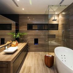 Luxury Contemporary Bathroom, CH House by GLR Arquitectos Wooden Bathroom, Bathroom Renos, Bathroom Ideas, Bathroom Designs, Brown Bathroom, Master Bathroom, Bathroom Storage, Cozy Bathroom, Master Baths