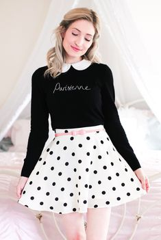 Review Australia, collar top, Paris top, chic top, polka dot skirt, skater skirt, spring style, feminine style, pink bow