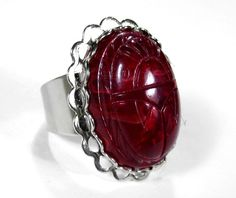 Steampunk Ring - Gothic Red SCARAB GLASS Cabochon on Silver Adjustable Ring  - GORGEOUS - Steampunk Jewelry by edmdesigns. $75.00, via Etsy.
