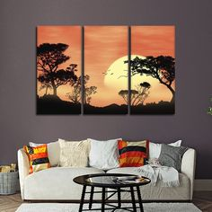 Savanna Sunset Multi Panel Canvas Wall Art by ElephantStock is printed using High-Quality materials for an elegant finish. We are the specialists in Modern Décor canvas prints and we offer 30 day Money Back Guarantee Multiple Canvas Paintings, 3 Canvas Paintings, Multi Canvas Painting, Canvas Painting Designs, Multi Canvas Art, African Art Paintings, Canvas Artwork, Canvas Wall Art, Living Room Canvas