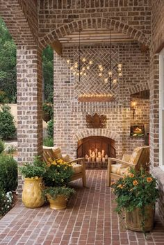 Porch with brick and fireplace