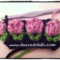 Crochet Flower Bud Headband - Free pattern and chart by DearestDebi