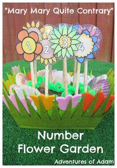 Mary Mary Quite Contrary Number Flower Garden | http://adventuresofadam.co.uk/number-flower-garden/