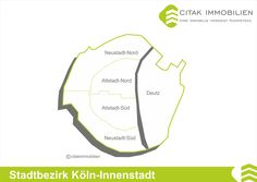Stadtteile des Stadtbezirk Köln-Innenstadt Der Kölner Stadtkern liegt an der Stelle der ehemaligen römischen Kolonie Colonia Claudia Ara Agrippinensium, der Köln seinen Namen verdankt. Die alte Römerstadt wurde im Mittelalter durch eine gewaltige Stadtmauer, welche auch die bisher vor dem historischen Stadtkern liegenden Klöster und Stiftskirchen einbezog, umschlossen
