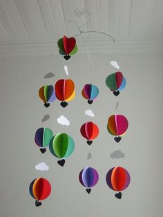 "Hot Air Balloon Baby Mobile ""Bright Spark"" - Bright Nursery Decor - Crib Mobile - Baby Shower Gift - New Baby - Gender Neutral Baby Gift Bright Nursery, Baby Nursery Decor, Baby Decor, Kids Decor, Balloon Clouds, Hot Air Balloon, Baby Shower Gifts, Baby Gifts, Hanging Mobile"