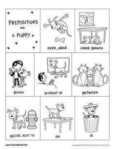 A printable prepositions poster for kids. Includes the following prepositions: over, above, under, beneath, behind, in front of, between, next to, on, and in.