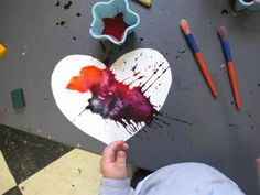 A great open-ended Valentine's Day art project for toddlers! I've got to get me some liquid water colors.