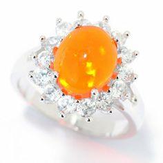 Gem Insider Sterling Silver 10 x 8mm Opal & White Zircon Ring