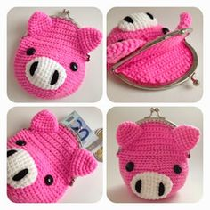 Crochet Purses Design Sweey purse with pic-pac by SweetHandmade Crochet Crochet Wallet, Crochet Pig, Crochet Coin Purse, Crochet Purse Patterns, Crochet Pouch, Crochet Shell Stitch, Crochet Purses, Bead Crochet, Crochet Gifts