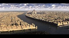 Reconstruction of Babylon, showing Euphrates river and zigurat Etemenanki