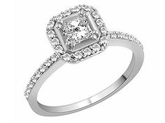 The Bridal Suite  18ct White Gold Square Cut Diamond Solitaire Ring  65pts - 043210