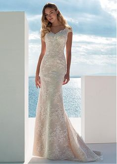 2ce3439e169f Magbridal Alluring Lace V-neck Neckline Mermaid Wedding Dress With Beaded  Lace Appliques