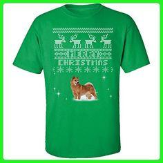 Finnish Spitz Dogs Merry Christmas Ugly Sweater - Adult Shirt L Irish-green - Holiday and seasonal shirts (*Amazon Partner-Link)
