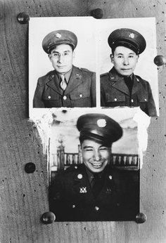 John Holy Elk Face, Thomas Holy Elk Face, and Peter Holy Elk Face, who all served in the U.S. Army during World War II - Hunkpapa - circa 1942