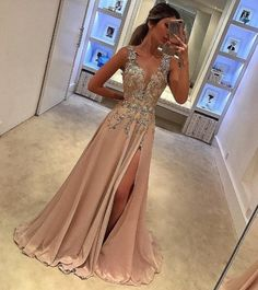 Customized Beautiful Prom Dress With Appliques Sexy Prom Dress,Deep V Neck Prom Dresses With Split Side,Appliques Prom Gowns,A Line Prom Gown,Long Prom Dress Split Prom Dresses, V Neck Prom Dresses, Unique Prom Dresses, Prom Dresses 2017, Satin Dresses, Pretty Dresses, Beautiful Dresses, Evening Dresses, Dresses Dresses