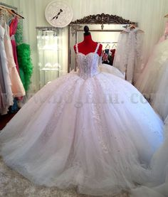 COUTURE GALLERY - WHITE AB CRYSTAL 250CM WIDE BIG FAT WEDDING DRESS WITH LACE STRAPS
