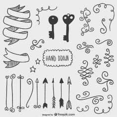 Dibujos de flechas, llaves y otros adornos